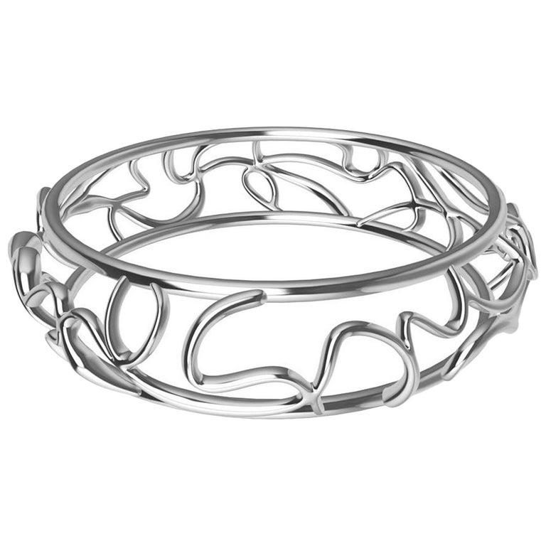 14 Karat White Gold Oceans Bracelet For Sale