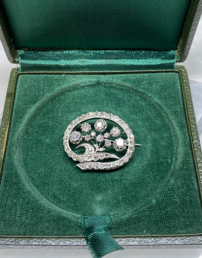 14 Karat White Gold & Old European Cut Diamond Floral Spray Brooch For Sale 5