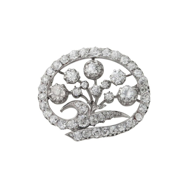 Women's 14 Karat White Gold & Old European Cut Diamond Floral Spray Brooch For Sale