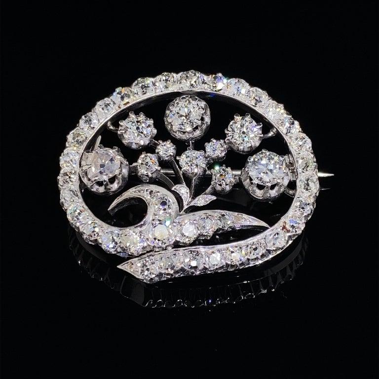 14 Karat White Gold & Old European Cut Diamond Floral Spray Brooch For Sale 2