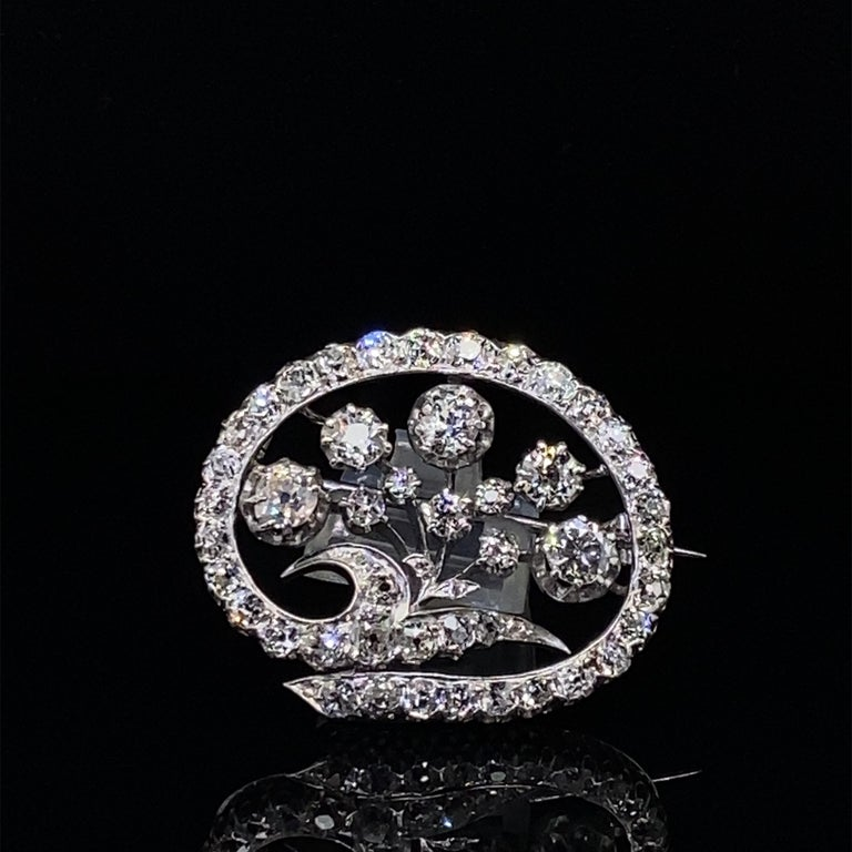 14 Karat White Gold & Old European Cut Diamond Floral Spray Brooch For Sale 3