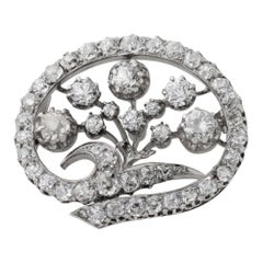 14 Karat White Gold & Old European Cut Diamond Floral Spray Brooch