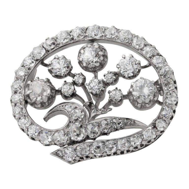 14 Karat White Gold & Old European Cut Diamond Floral Spray Brooch For Sale