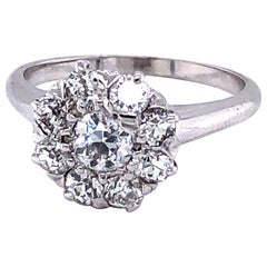 14 Karat White Gold Old Mine Cut Diamond Engagement Ring