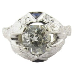 14 Karat White Gold Old Mine Diamond and Sapphire Ring