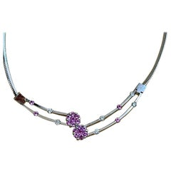 14 Karat White Gold Omega Necklace with Pink Sapphire and Diamonds, Italy