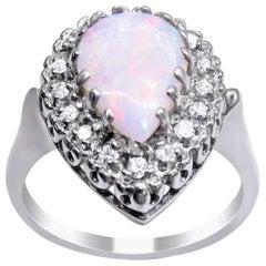 14 Karat White Gold Opal and Diamond Ladies Ring
