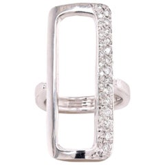 14 Karat White Gold Open Rectangle Diamond Fashion Ring