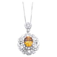 14 Karat White Gold Orange Sapphire and Diamond Necklace