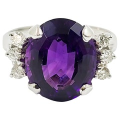14 Karat White Gold Oval Amethyst and Diamond Cocktail Ring