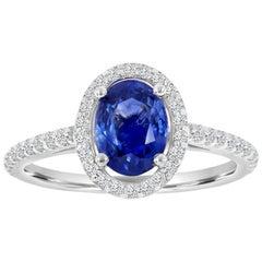 14 Karat White Gold Oval Blue Sapphire Halo Diamond Ring 'Center-1.45 Carat'