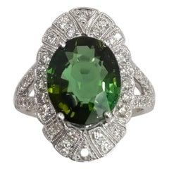 14 Karat White Gold Oval Cut Green Tourmaline and Diamond Ring
