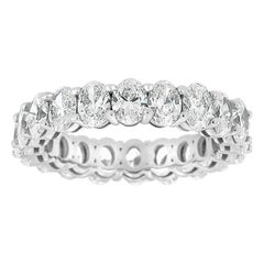 14 Karat White gold Oval Eternity Diamond Ring '4 Carat'