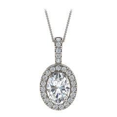 14 Karat White Gold Oval Halo Diamond '3/4 Carat'