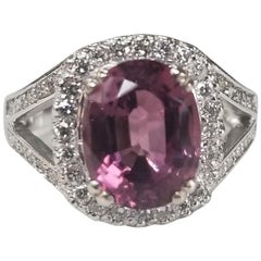 14 Karat White Gold Oval Pink Tourmaline Diamond Halo Ring