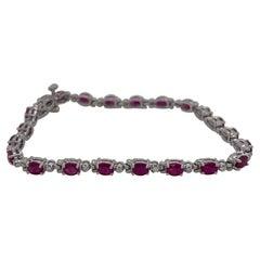 14 Karat White Gold Oval Ruby & Diamond Bracelet