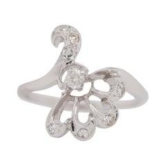 14 Karat White Gold Pave Diamond Bypass Fan Ring