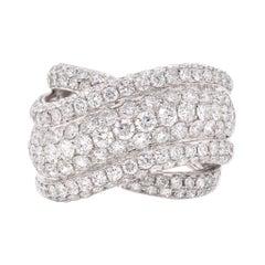 14 Karat White Gold Pave Diamond Bypass Ring