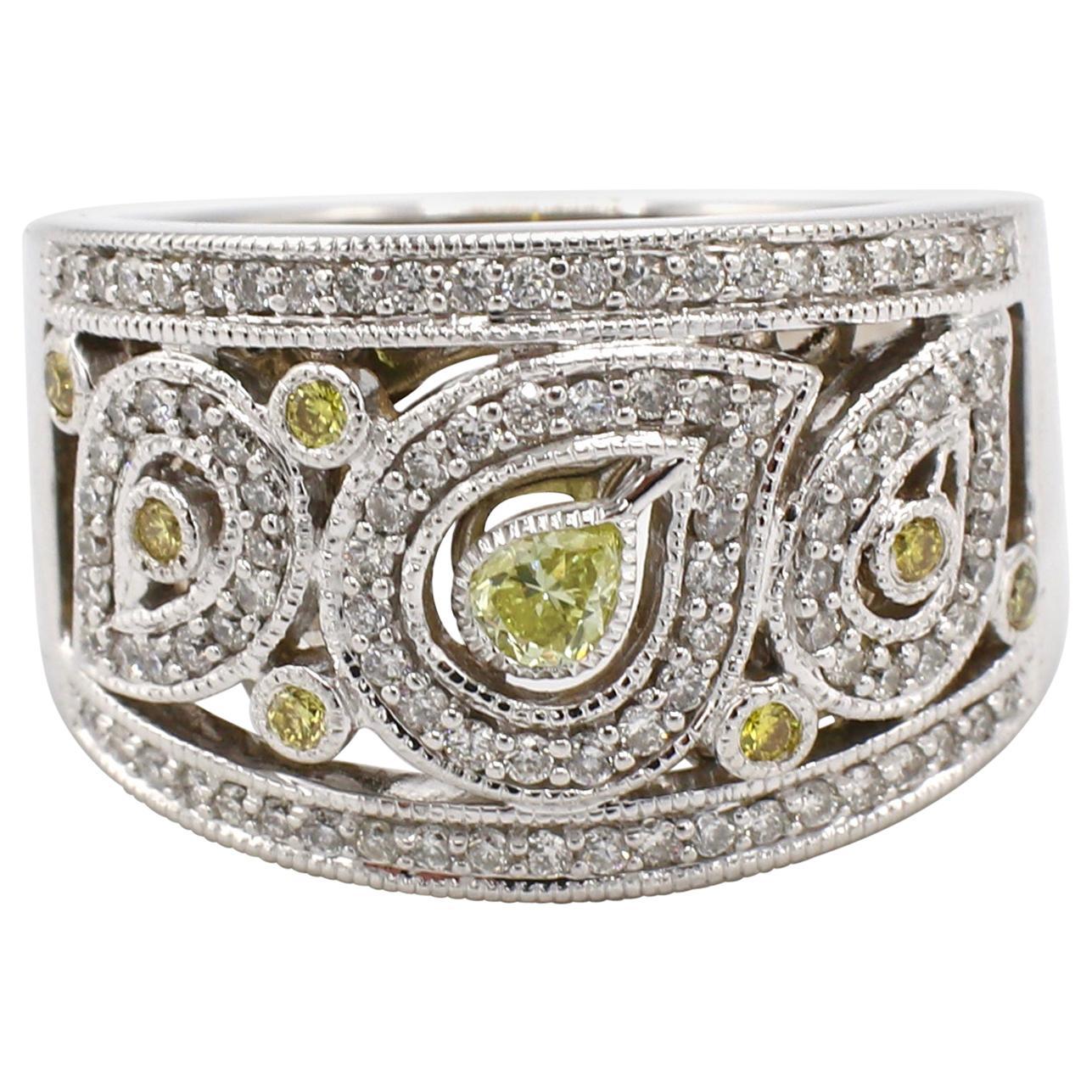 14 Karat White Gold Pave Diamond Cocktail Ring