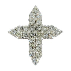 14 Karat White Gold Pave Diamond Cross Pendant