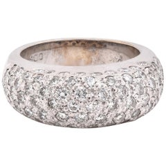 14 Karat White Gold Pave Diamond Dome Ring
