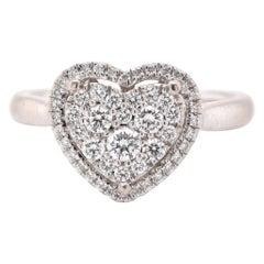 14 Karat White Gold Pave Diamond Heart Ring