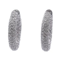 14 Karat White Gold Pave Diamond Hoop Earrings