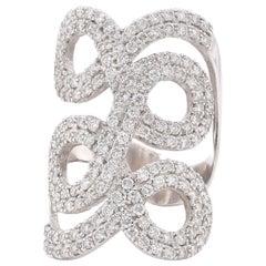 14 Karat White Gold Pave Diamond Swirl Ring