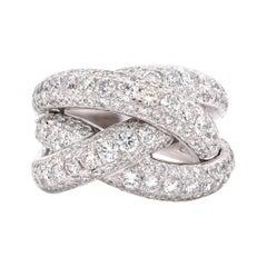 14 Karat White Gold Pave Diamond Tripple X Ring