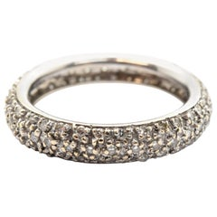 14 Karat White Gold Pave Diamond Wedding Band 3.14 Grams