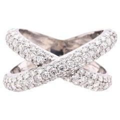 14 Karat White Gold Pave Diamond X-Ring