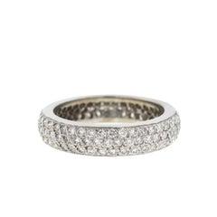14 Karat White Gold Pave Eternity Band Ring 1.5 Carat