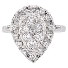 14 Karat White Gold Pave Pear Shaped Diamond Ring