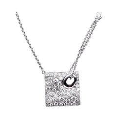 14 Karat White Gold Pave Set Diamond Square Necklace