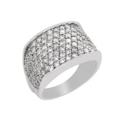 14 Karat White Gold Pavé Set Diamonds Dome Ring
