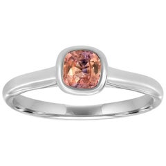 14 Karat White Gold Peach Sapphire Solitaire Ring '2/3 Carat'