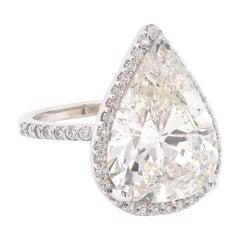 14 Karat White Gold Pear Diamond Engagement Ring