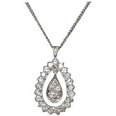 14 Karat White Gold Pear Shape Diamond Pendant