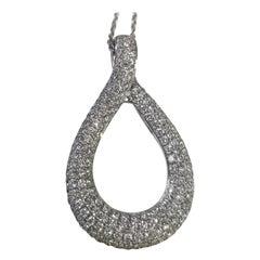 14 Karat White Gold Pear Shape Micro Pavé Set Diamond Pendant