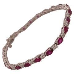 14 Karat White Gold Pear Shape Ruby & Diamond Bracelet