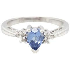 14 Karat White Gold Pear Shape Sapphire and Diamond Ring