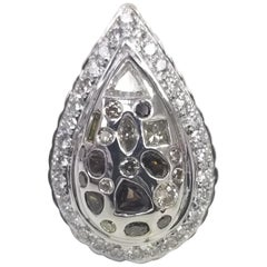 14 Karat White Gold Pear Shape Setting with Natural Brown and White Diamonds