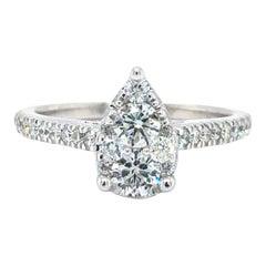 14 Karat White Gold Pear Shaped .65 Carat Diamond Cluster Engagement Ring