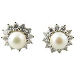 14 Karat White Gold Pearl and Diamond Earrings