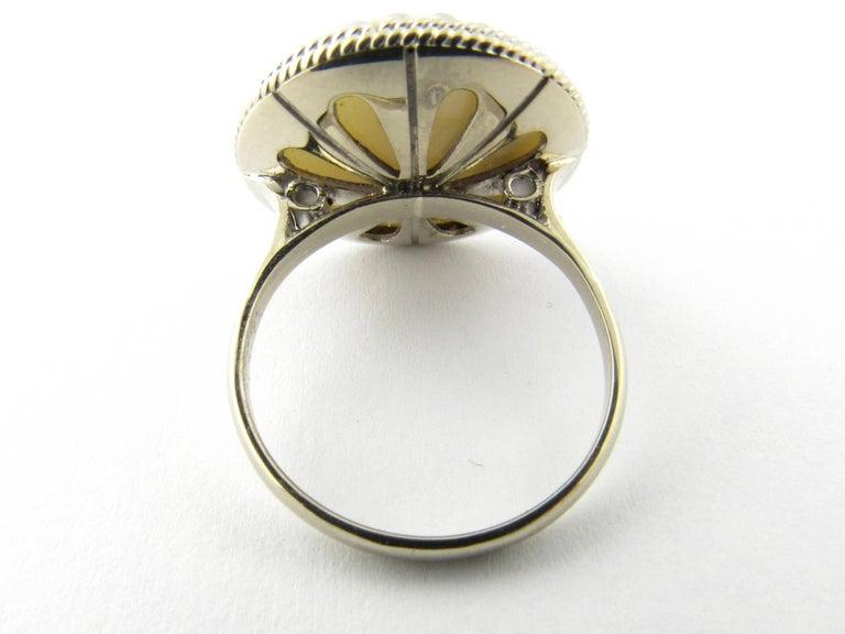 Round Cut 14 Karat White Gold Pearl Ring