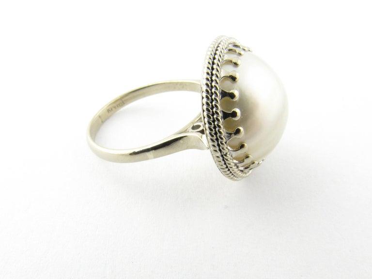 Women's 14 Karat White Gold Pearl Ring