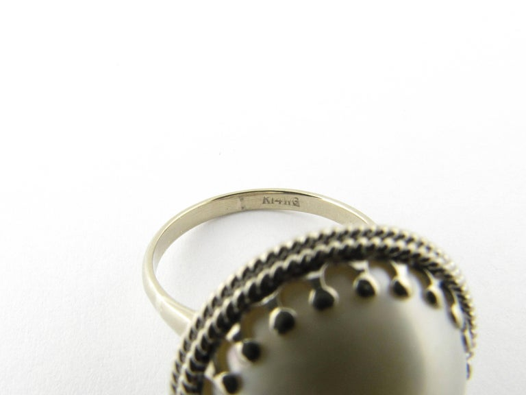14 Karat White Gold Pearl Ring 1
