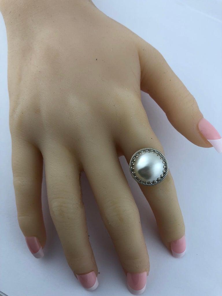 14 Karat White Gold Pearl Ring 2