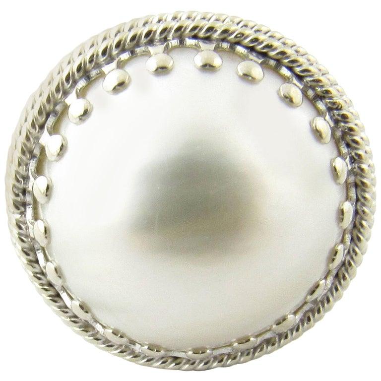 14 Karat White Gold Pearl Ring