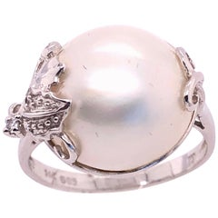14 Karat White Gold Pearl Solitaire with Diamond Accent Ring
